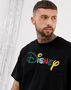 Oversize-футболка с разноцветной надписью ASOS DESIGN Disney - Черный