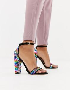 Босоножки на блочном каблуке с разноцветными пайетками Miss Selfridge - Черный