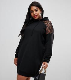 Платье-худи с кружевной кокеткой ASOS DESIGN Curve - Черный