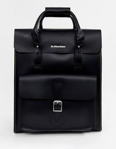 Большой кожаный рюкзак с желтой строчкой Dr.Martens - Черный