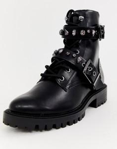 Байкерские ботинки с пряжками Stradivarius - Черный