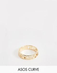 Кольцо в винтажном стиле золотистого цвета с логотипом ASOS DESIGN Curve - Золотой