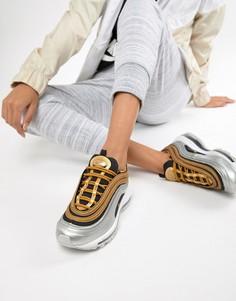 Кроссовки черного и золотистого цвета с эффектом металлик Nike Air Max 97 - Черный