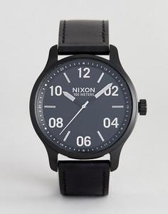 Черные часы с кожаным ремешком Nixon A1242 Patrol - 44 мм - Черный