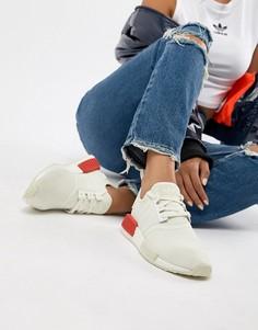 Белые кроссовки с красной массивной подошвой adidas Originals Nmd R1 - Белый