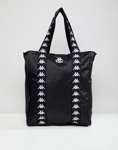 Черная сумка-тоут с логотипом на ленте Kappa Authentic Anim - Черный