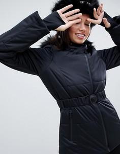 Горнолыжная куртка с поясом и дутой вставкой ASOS 4505 - Черный