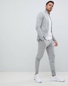 Серый меланжевый спортивный костюм заужнного кроя ASOS DESIGN - Серый