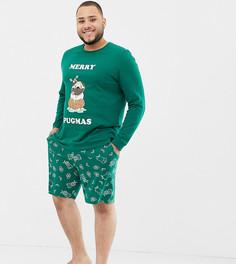 Новогодняя пижама с мопсом ASOS DESIGN Plus - Зеленый