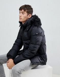 Черная дутая куртка со съемным капюшоном и отделкой искусственным мехом Schott - Черный