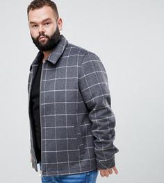 Полушерстяная куртка в клетку на молнии ASOS DESIGN Plus - Серый