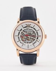 Часы 43 мм с темно-синим кожаным ремешком Emporio Armani AR60009 Luigi - Коричневый