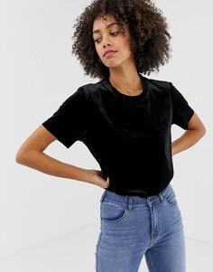 Бархатная футболка Dr Denim - Черный