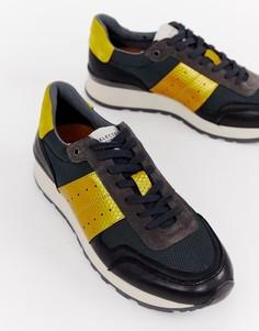 Кожаные кроссовки с контрастными вставками Selected Homme premium - Серый