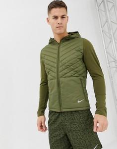 Дутая куртка цвета хаки с капюшоном Nike Running AH0544-395 - Зеленый