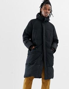 Черная удлиненная дутая куртка с капюшоном ASOS DESIGN - Черный