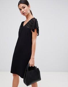 Платье с прозрачными вставками на плечах Y.A.S Lulita - Черный