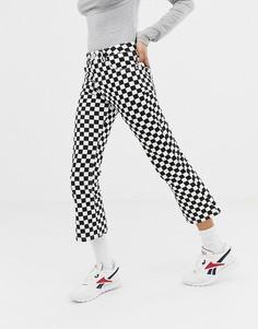 Укороченные расклешенные джинсы с принтом в шахматную клетку ASOS DESIGN Egerton - Мульти