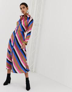 Платье-рубашка макси в полоску Neon Rose - Мульти