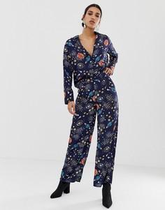 Широкие брюки с принтом Neon Rose - Мульти
