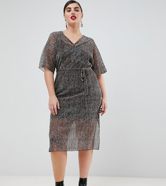 Плиссированное платье-футболка с поясом и звериным принтом River Island Plus - Мульти