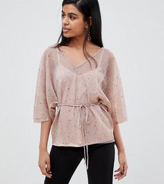 2185e8f3e70e Розовая плиссированная блузка с поясом River Island Petite - Розовый