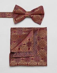 Галстук-бабочка и платок для нагрудного кармана ASOS DESIGN - Красный