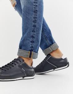 Темно-синие кожаные кроссовки BOSS Saturn - Темно-синий