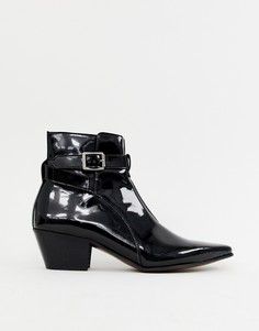 Черные лакированные ботинки челси в стиле вестерн на кубинском каблуке ASOS DESIGN - Черный