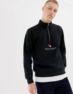 Черный свитшот с молнией 1/4 и вышитым логотипом на груди Parlez Corpen - Черный