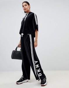 Бархатные спортивные штаны с широкими штанинами DKNY - Черный
