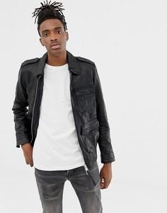 Черная кожаная куртка с карманами AllSaints - Черный