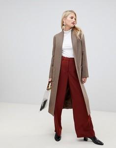 Длинное пальто в ломаную клетку с добавлением шерсти Helene Berman - Серый