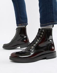 Бордовые блестящие ботинки на шнуровке Walk London - Красный