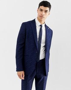 1123fc2a7727 Жаккардовый приталенный пиджак с цветочным рисунком Farah Hookstone -  Темно-синий