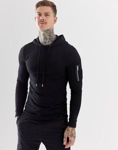 Удлиненный облегающий худи черного цвета с карманом MA1 и асимметричным краем ASOS DESIGN - Черный