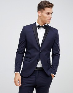 Темно-синий приталенный пиджак-смокинг с атласными лацканами Selected Homme - Темно-синий
