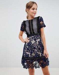 Кружевное платье мини с контрастной подкладкой Liquorish - Темно-синий