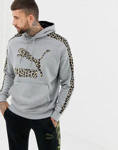 Серый худи с полосками и логотипом Puma - Серый