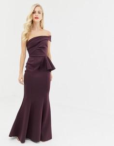 Платье макси с широким вырезом и юбкой с годе ASOS DESIGN - Фиолетовый