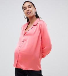 Свободная атласная рубашка ASOS DESIGN Maternity - Розовый
