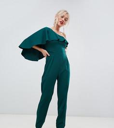 Комбинезон на одно плечо с широкими штанинами City Goddess Petite - Зеленый