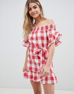 Красное пляжное платье в клетку с открытыми плечами и оборками ASOS DESIGN - Красный
