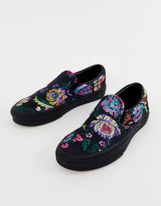 Черные кроссовки-слипоны с цветочным принтом Vans Classic - Черный