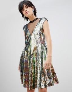 Платье с пайетками с эффектом омбре Free People - Мульти