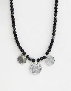 Ожерелье из бисера с монетами и полудрагоценными камнями ASOS DESIGN - Мульти