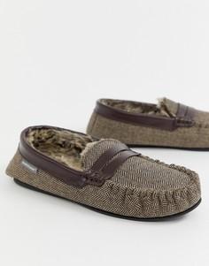 Мокасины-слиперы с узором в елочку Dunlop - Коричневый