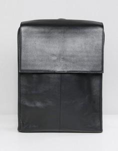 Черный кожаный рюкзак с откидным клапаном ASOS DESIGN - Черный