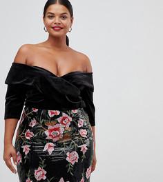 Бархатное платье с открытыми плечами и юбкой с пайетками Lovedrobe - Мульти