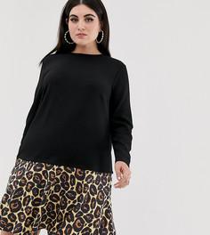 Платье 2 в 1 с леопардовым принтом на юбке ASOS DESIGN Curve - Черный